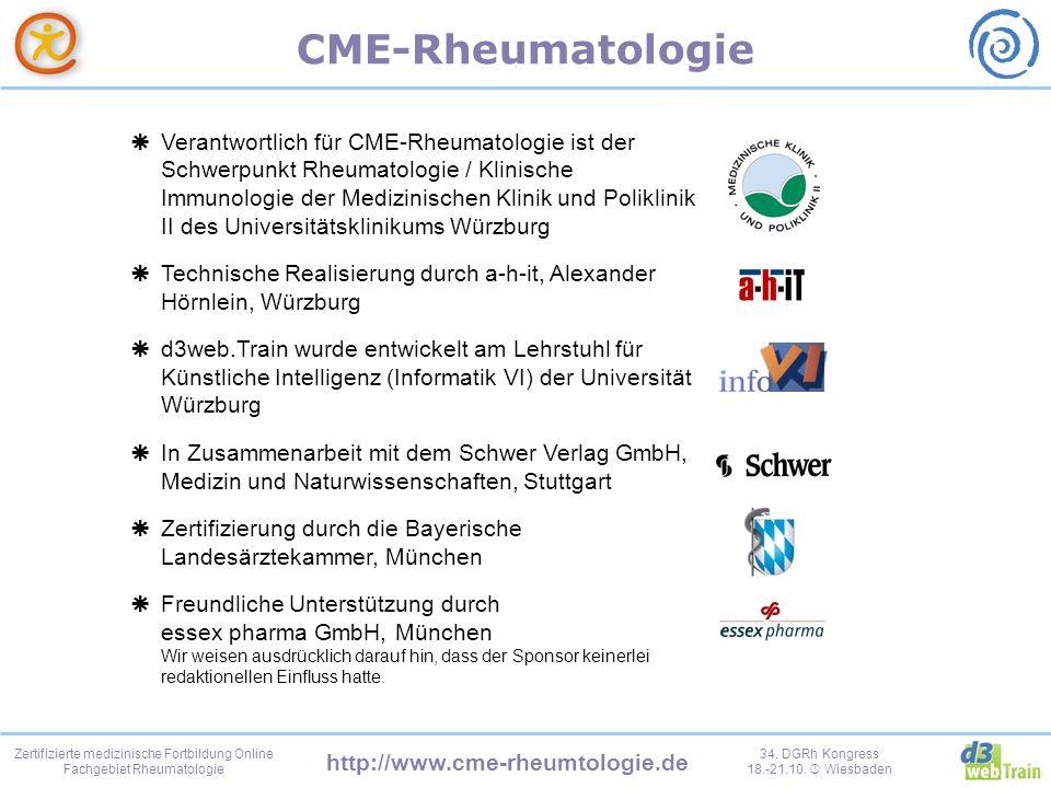 Verantwortlich für CME-Rheumatologie ist der Schwerpunkt Rheumatologie / Klinische Immunologie der Medizinischen Klinik und Poliklinik II des Universitätsklinikums Würzburg