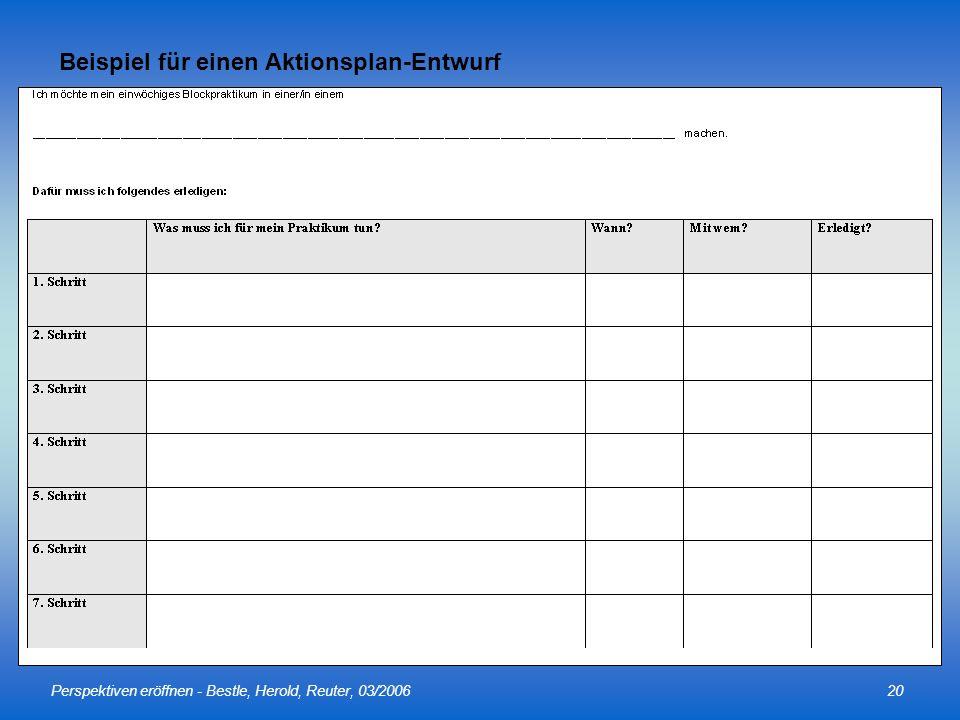 Beispiel für einen Aktionsplan-Entwurf