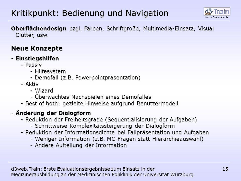Kritikpunkt: Bedienung und Navigation