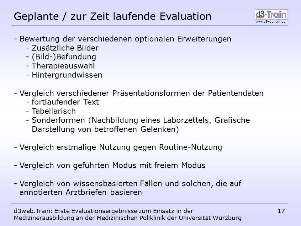 Geplante / zur Zeit laufende Evaluation