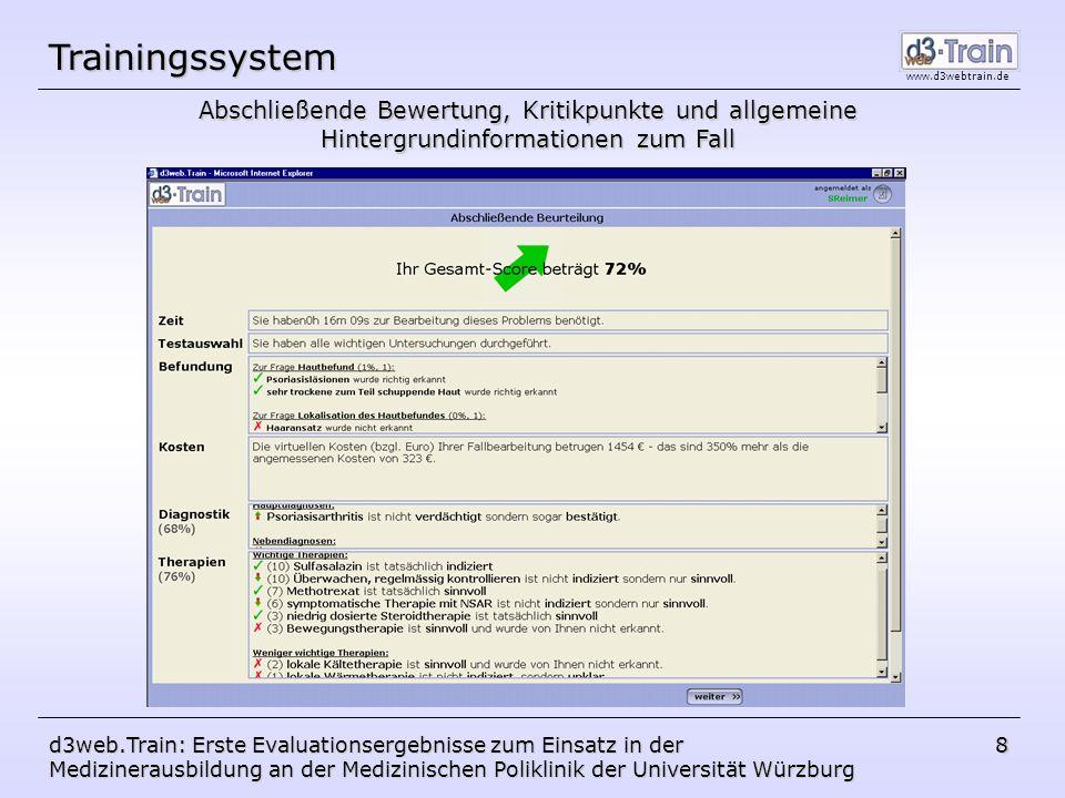 Trainingssystem Abschließende Bewertung, Kritikpunkte und allgemeine Hintergrundinformationen zum Fall.