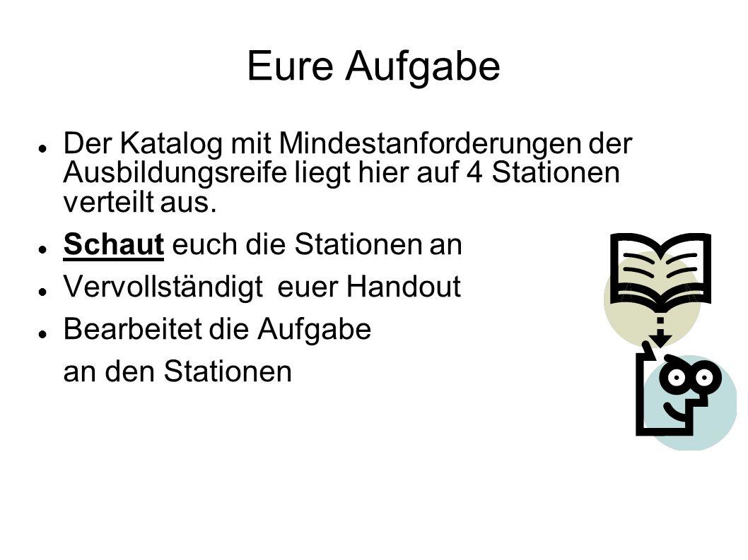 Eure Aufgabe Der Katalog mit Mindestanforderungen der Ausbildungsreife liegt hier auf 4 Stationen verteilt aus.