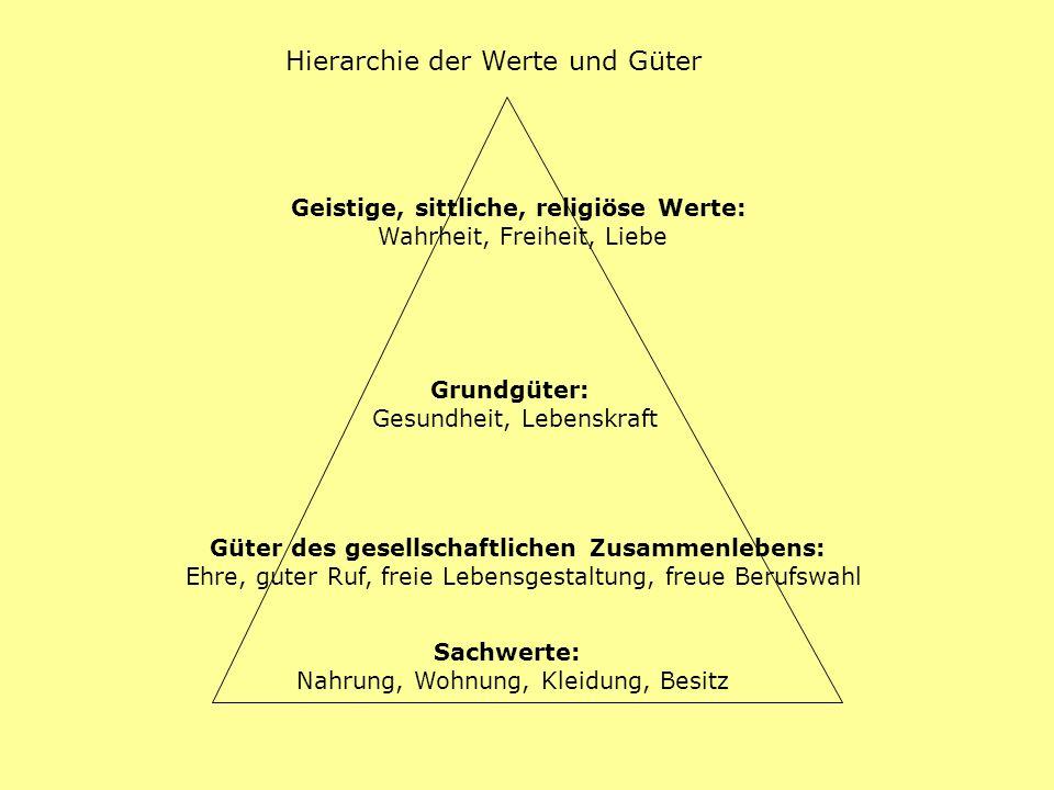 Hierarchie der Werte und Güter