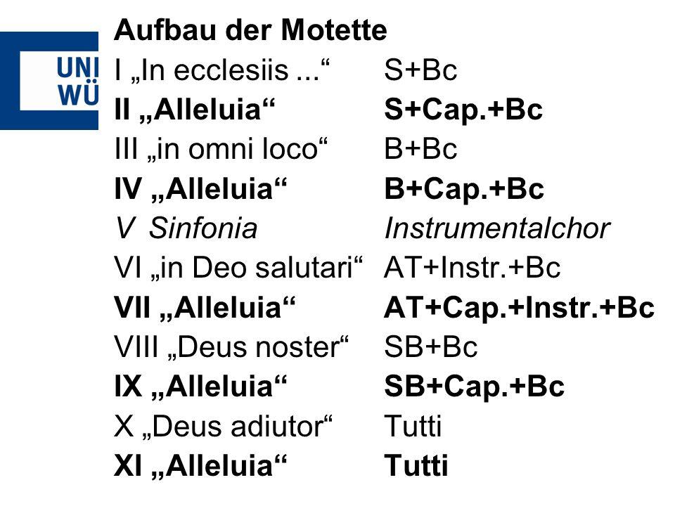 """Aufbau der Motette I """"In ecclesiis ... S+Bc. II """"Alleluia S+Cap.+Bc. III """"in omni loco B+Bc. IV """"Alleluia B+Cap.+Bc."""