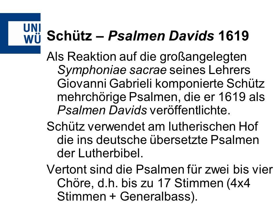 Schütz – Psalmen Davids 1619