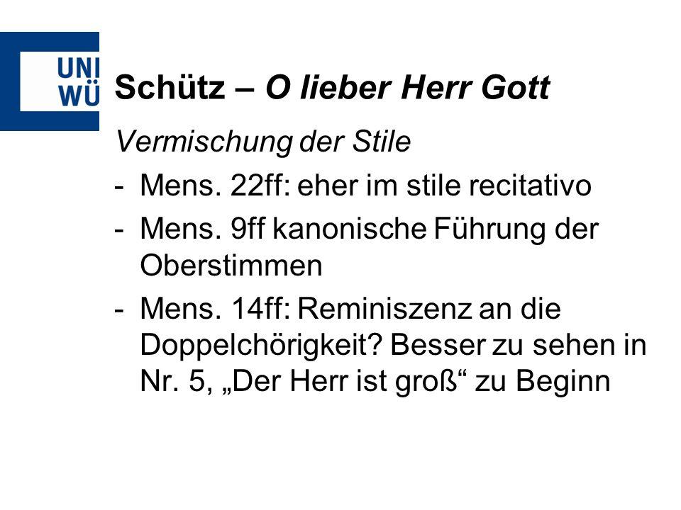 Schütz – O lieber Herr Gott