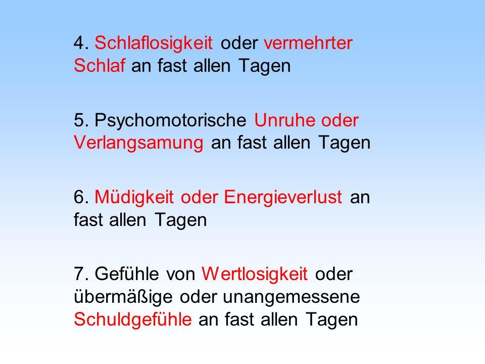 4. Schlaflosigkeit oder vermehrter Schlaf an fast allen Tagen