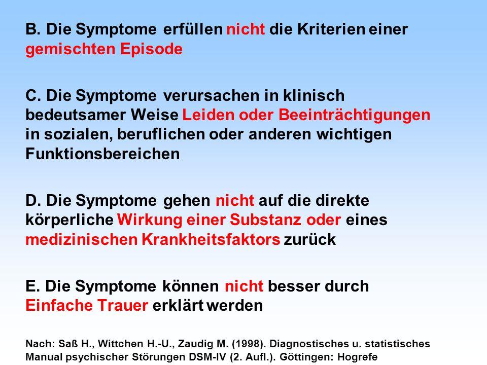 B. Die Symptome erfüllen nicht die Kriterien einer gemischten Episode