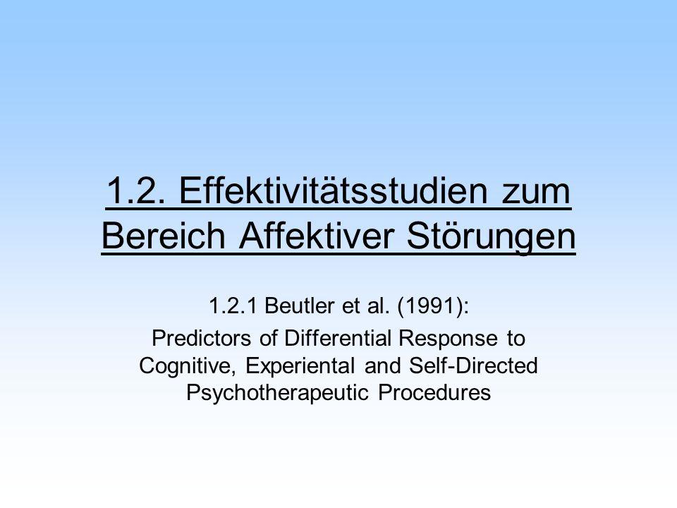 1.2. Effektivitätsstudien zum Bereich Affektiver Störungen