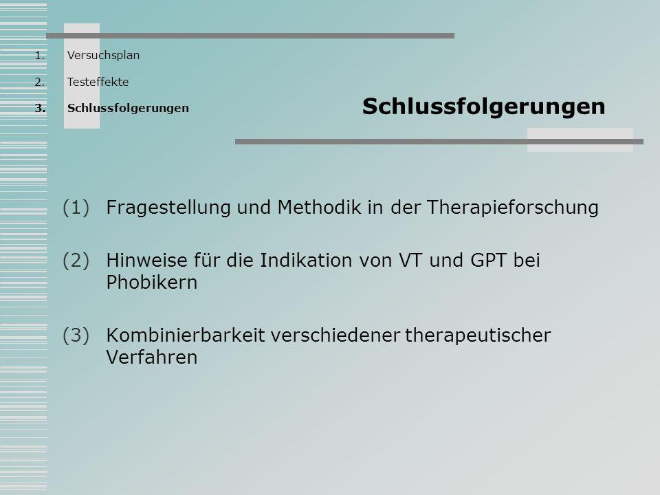 Schlussfolgerungen Fragestellung und Methodik in der Therapieforschung