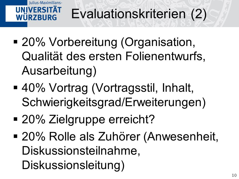 Evaluationskriterien (2)
