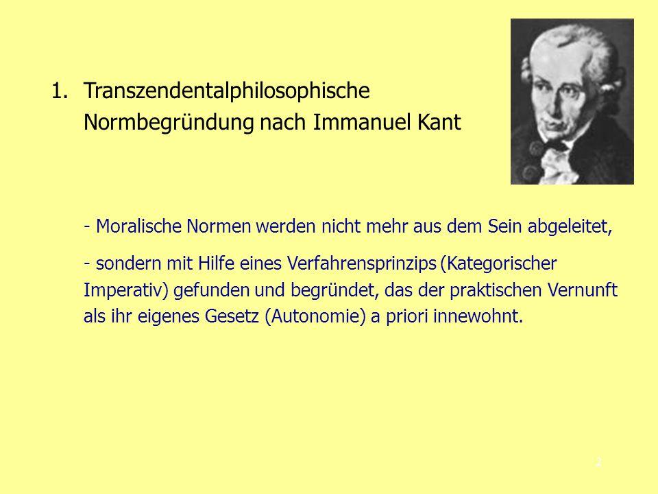 Transzendentalphilosophische Normbegründung nach Immanuel Kant