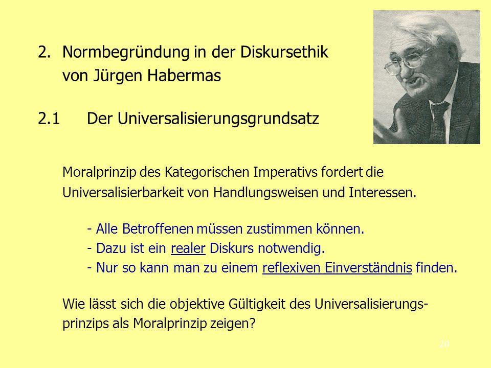 Normbegründung in der Diskursethik von Jürgen Habermas
