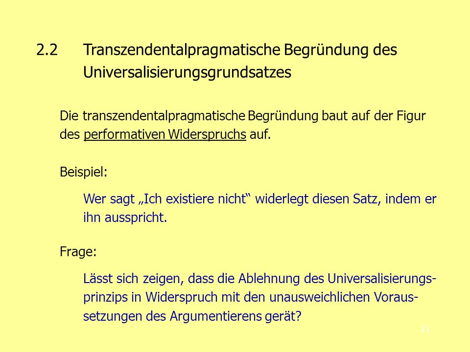 2. 2. Transzendentalpragmatische Begründung des