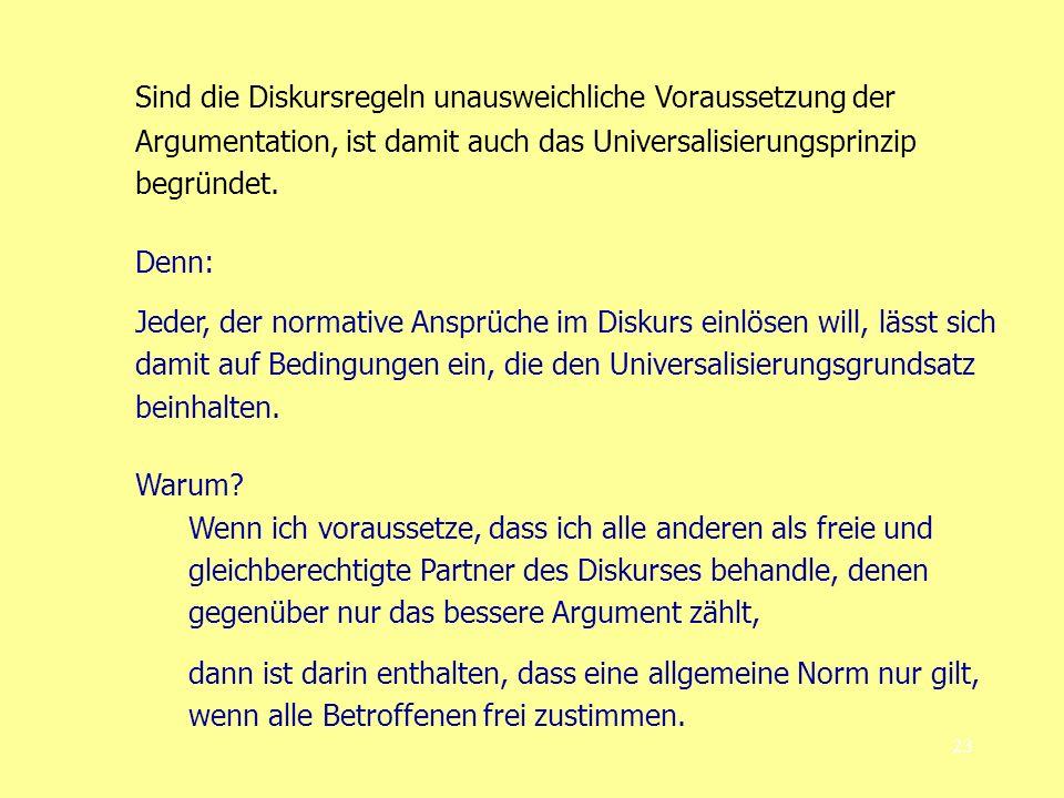 Sind die Diskursregeln unausweichliche Voraussetzung der Argumentation, ist damit auch das Universalisierungsprinzip begründet.