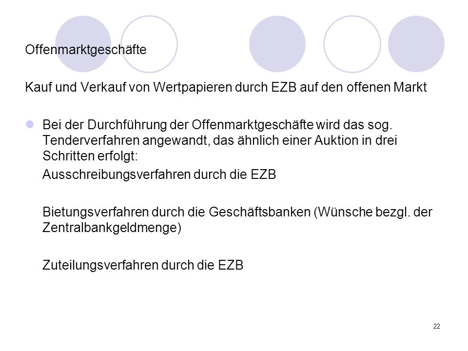 OffenmarktgeschäfteKauf und Verkauf von Wertpapieren durch EZB auf den offenen Markt.