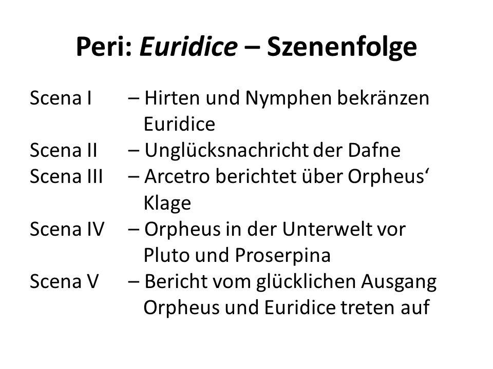 Peri: Euridice – Szenenfolge
