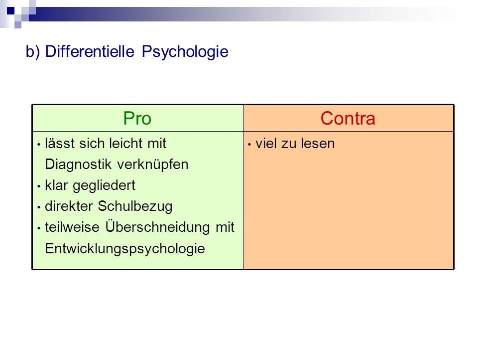 b) Differentielle Psychologie