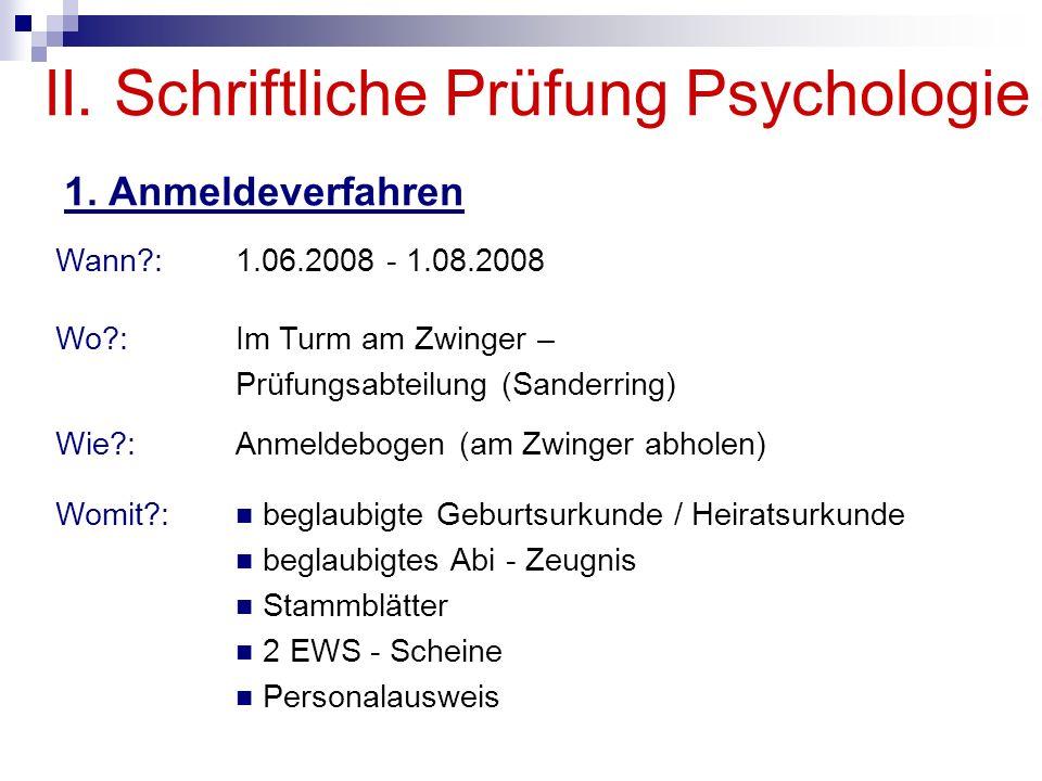 II. Schriftliche Prüfung Psychologie