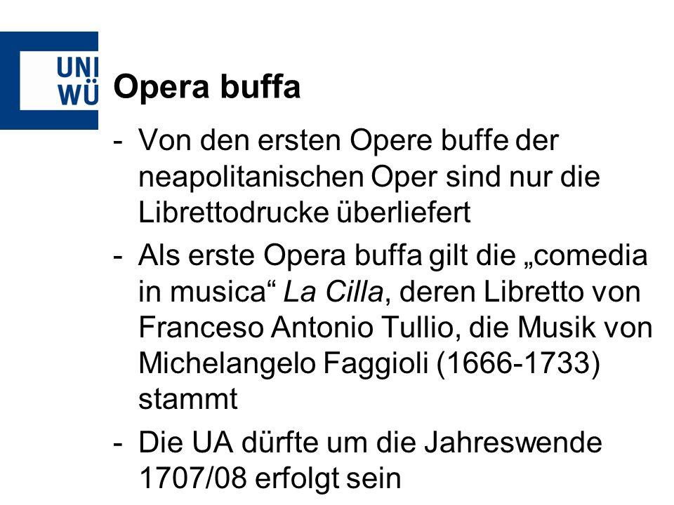 Opera buffa Von den ersten Opere buffe der neapolitanischen Oper sind nur die Librettodrucke überliefert.