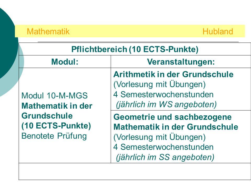 Pflichtbereich (10 ECTS-Punkte)