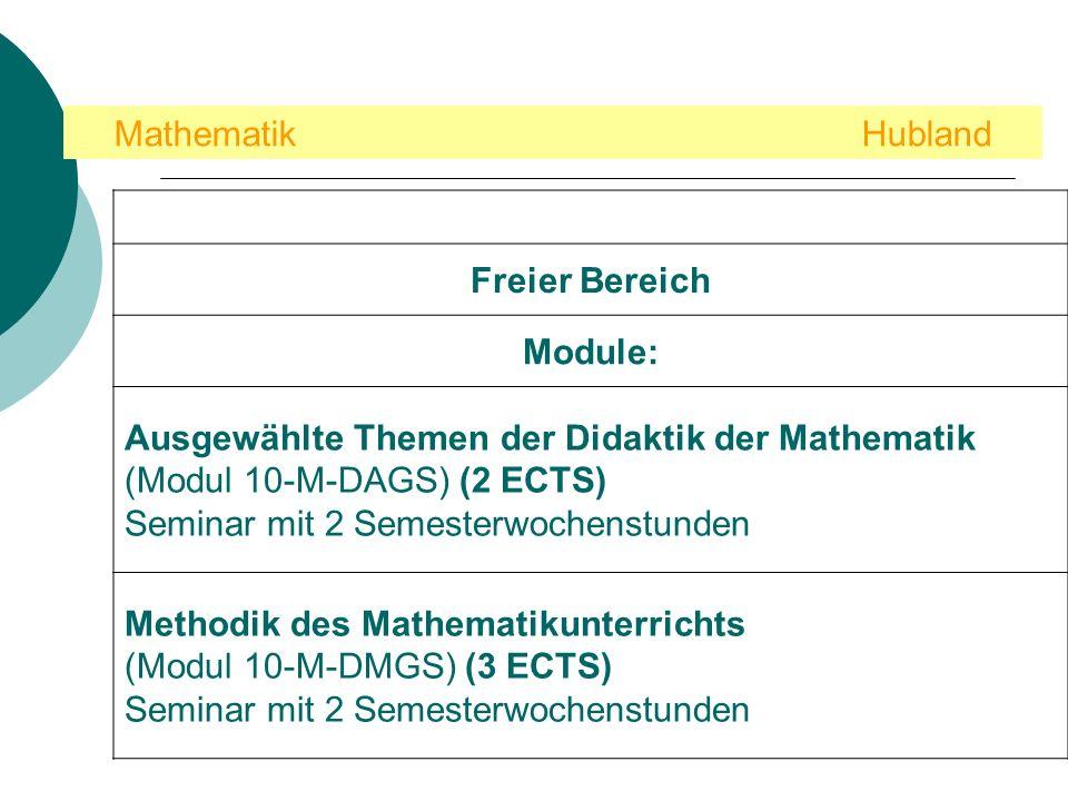 Mathematik Hubland Freier Bereich. Module: Ausgewählte Themen der Didaktik der Mathematik (Modul 10-M-DAGS) (2 ECTS)