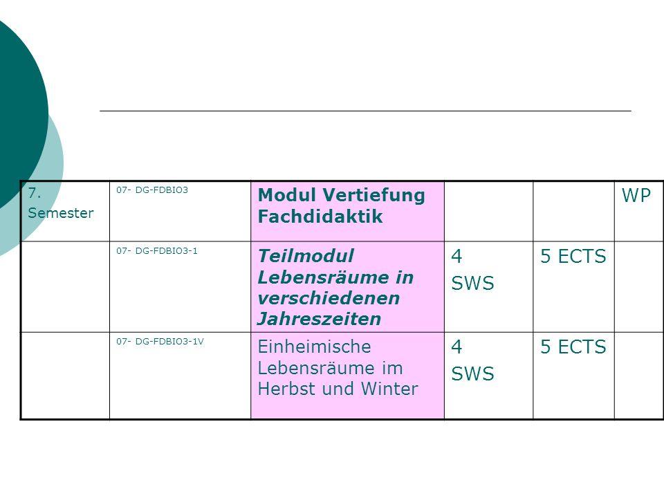 WP 4 SWS 5 ECTS Modul Vertiefung Fachdidaktik