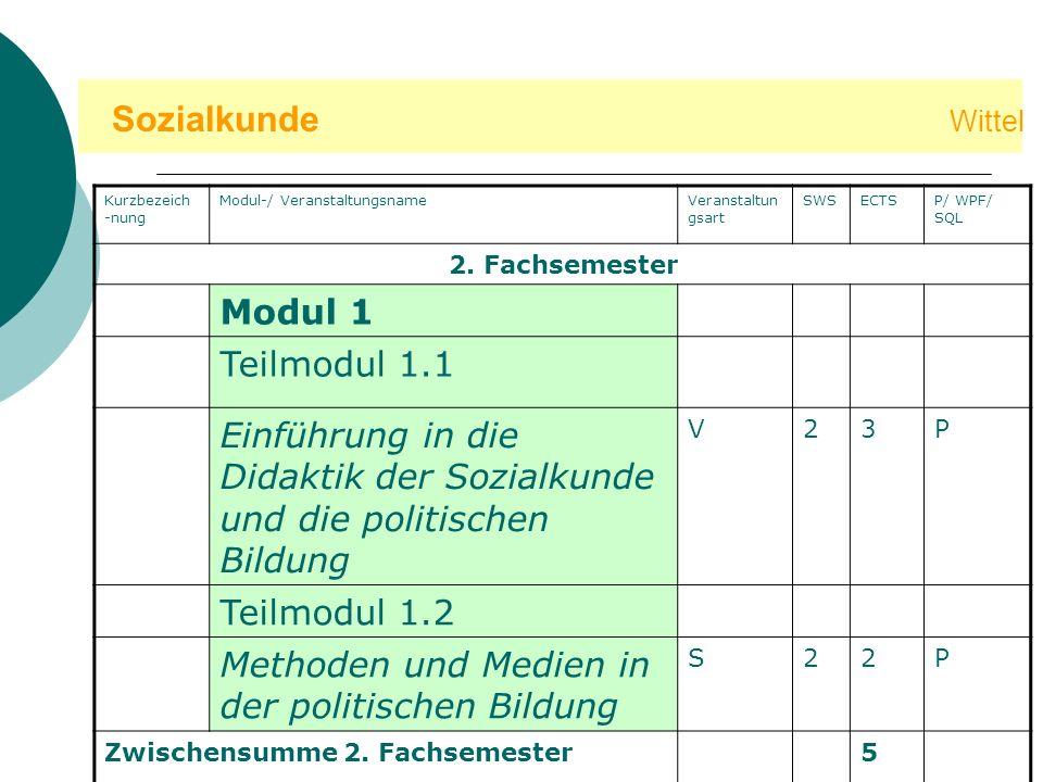 Sozialkunde Wittel Modul 1 Teilmodul 1.1