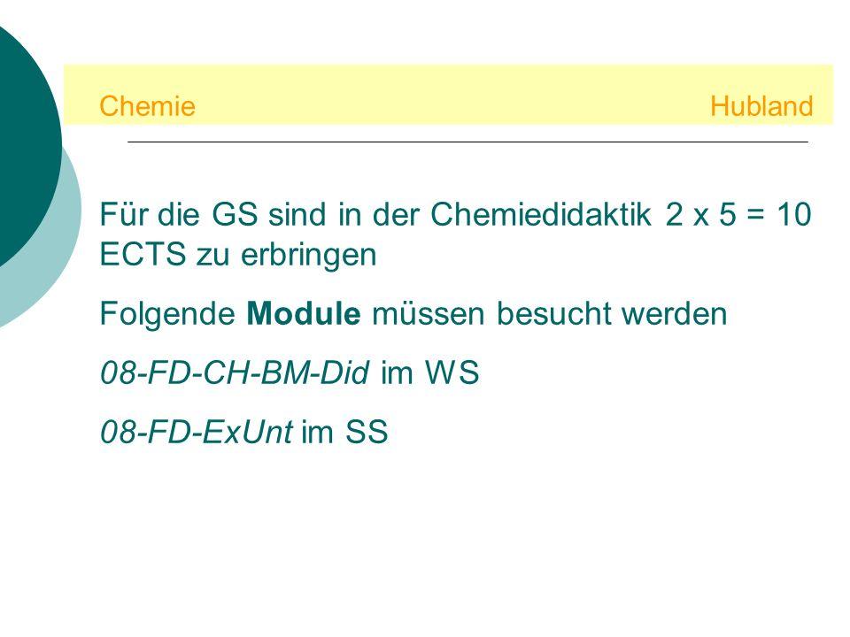 Für die GS sind in der Chemiedidaktik 2 x 5 = 10 ECTS zu erbringen