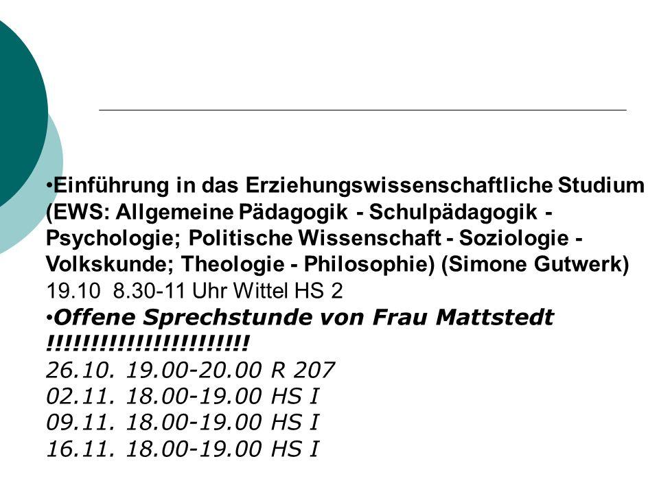 Einführung in das Erziehungswissenschaftliche Studium (EWS: Allgemeine Pädagogik - Schulpädagogik - Psychologie; Politische Wissenschaft - Soziologie - Volkskunde; Theologie - Philosophie) (Simone Gutwerk)