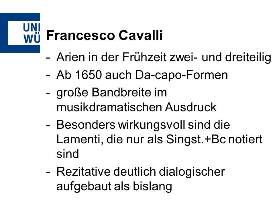 Francesco Cavalli Arien in der Frühzeit zwei- und dreiteilig