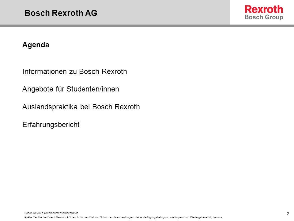 Bosch Rexroth AG Agenda Informationen zu Bosch Rexroth