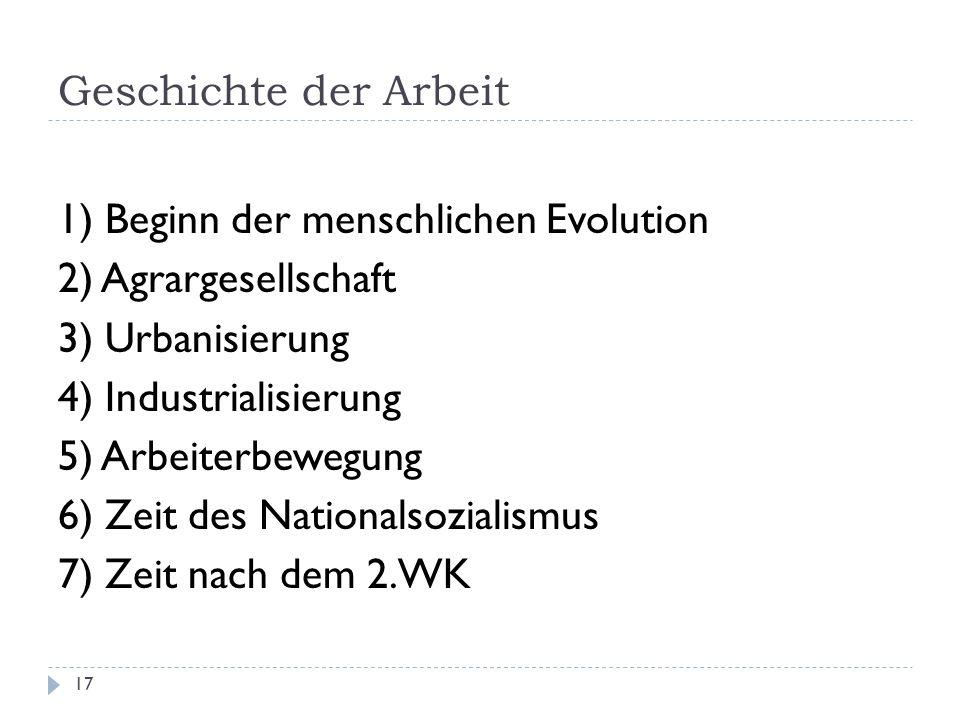 Geschichte der Arbeit 1) Beginn der menschlichen Evolution. 2) Agrargesellschaft. 3) Urbanisierung.