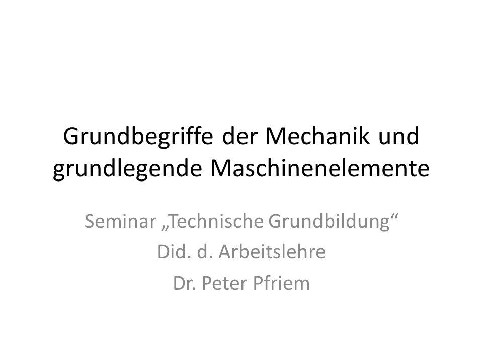 Grundbegriffe der Mechanik und grundlegende Maschinenelemente