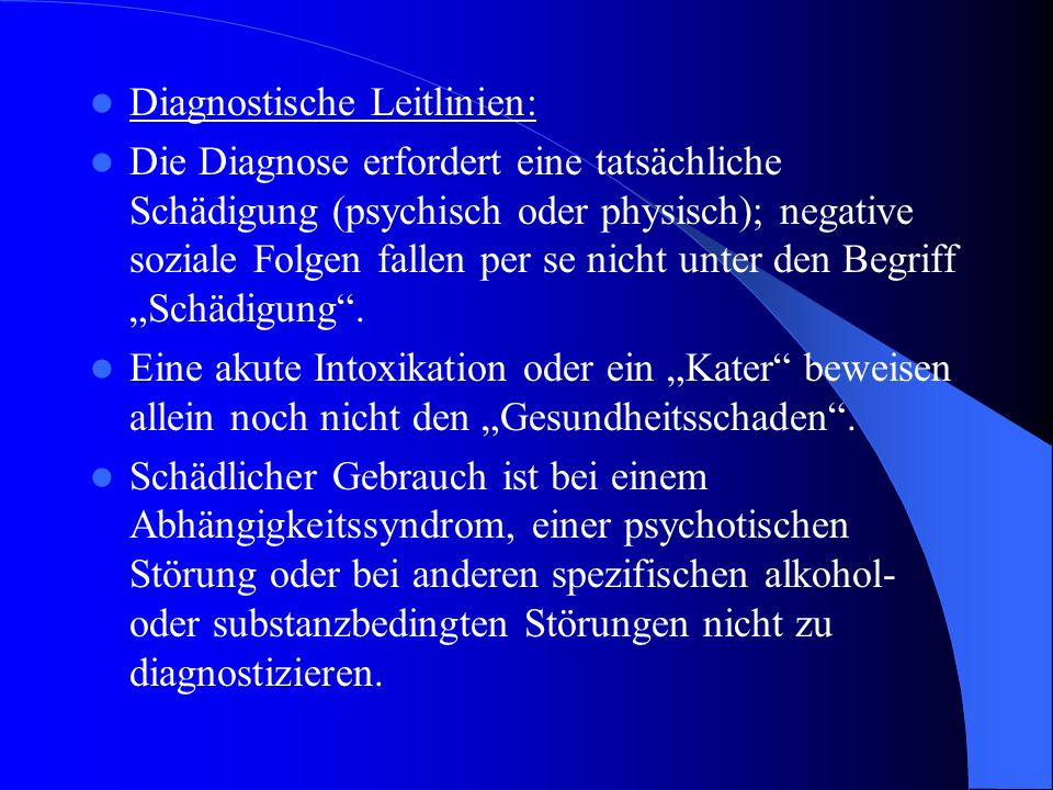 Diagnostische Leitlinien:
