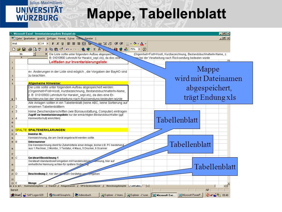 Mappe, Tabellenblatt Mappe wird mit Dateinamen