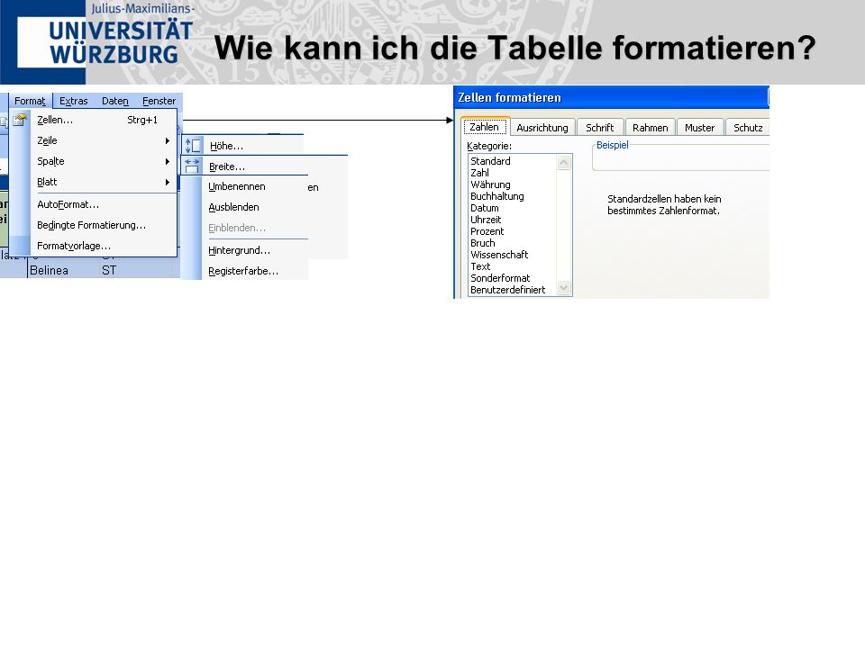 Wie kann ich die Tabelle formatieren