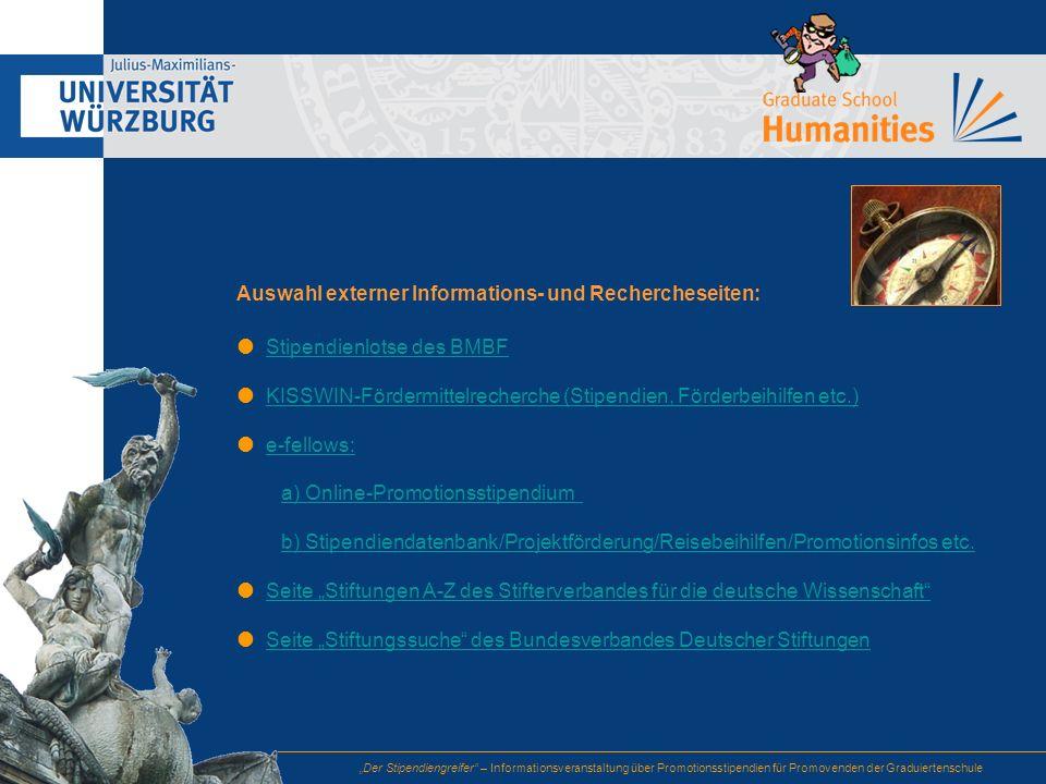 Auswahl externer Informations- und Rechercheseiten: