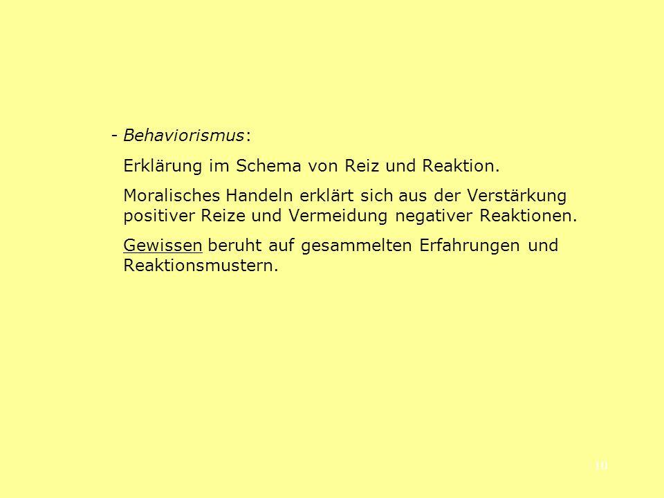 - Behaviorismus: Erklärung im Schema von Reiz und Reaktion.