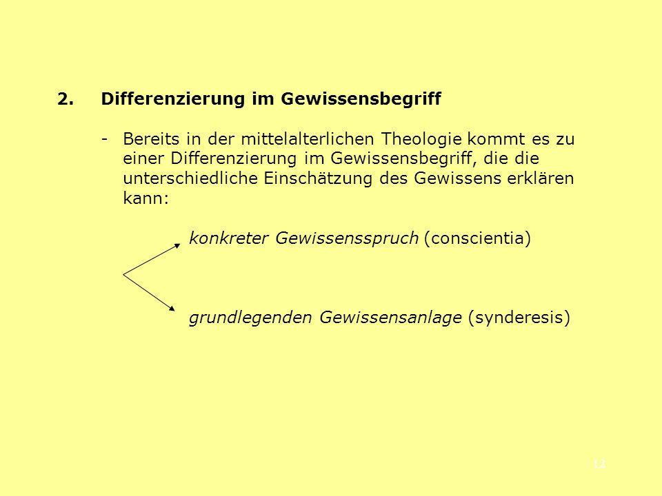 2. Differenzierung im Gewissensbegriff