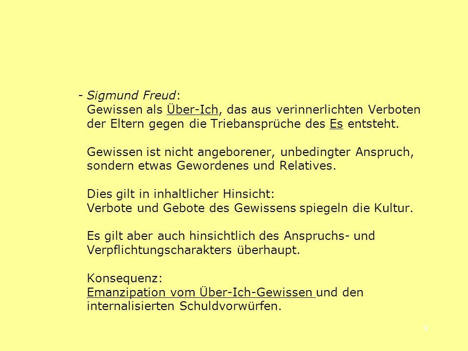 - Sigmund Freud: Gewissen als Über-Ich, das aus verinnerlichten Verboten der Eltern gegen die Triebansprüche des Es entsteht.