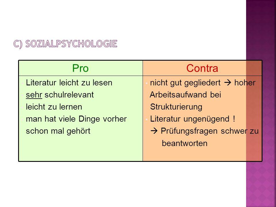 Pro Contra c) Sozialpsychologie Literatur leicht zu lesen