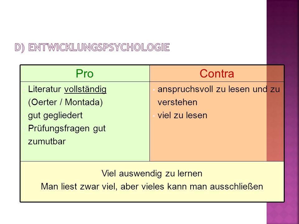 d) Entwicklungspsychologie