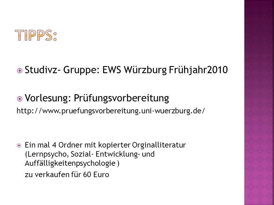 Tipps: Studivz- Gruppe: EWS Würzburg Frühjahr2010