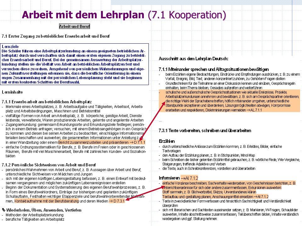 Arbeit mit dem Lehrplan (7.1 Kooperation)