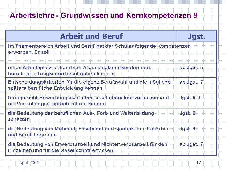 Arbeitslehre - Grundwissen und Kernkompetenzen 9