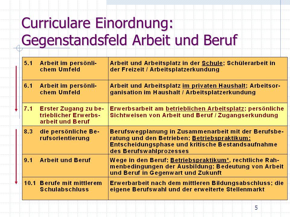 Curriculare Einordnung: Gegenstandsfeld Arbeit und Beruf