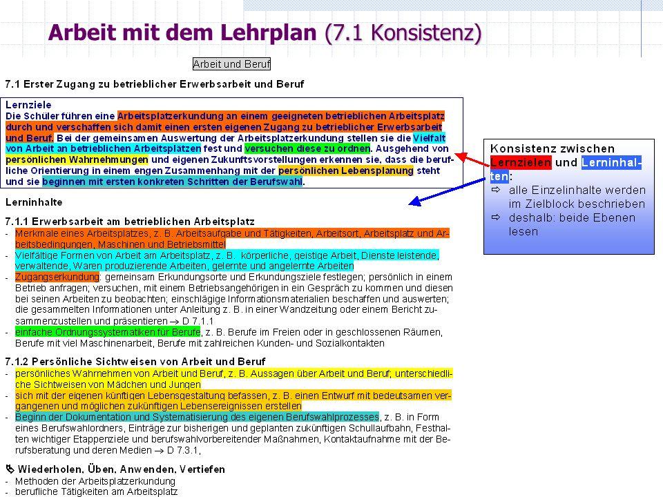 Arbeit mit dem Lehrplan (7.1 Konsistenz)