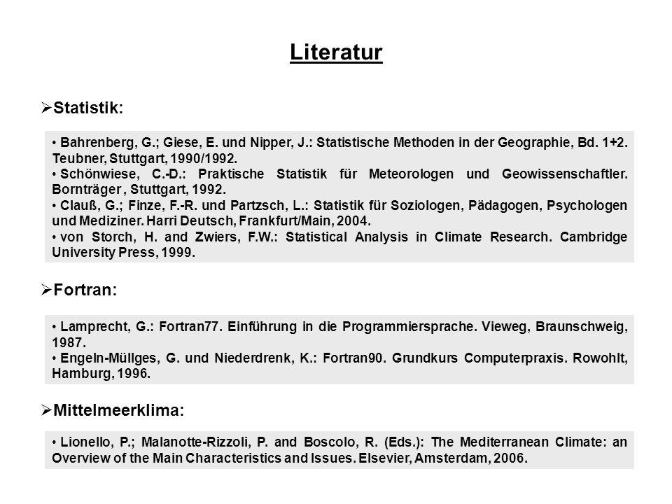 Literatur Statistik: Fortran: Mittelmeerklima: