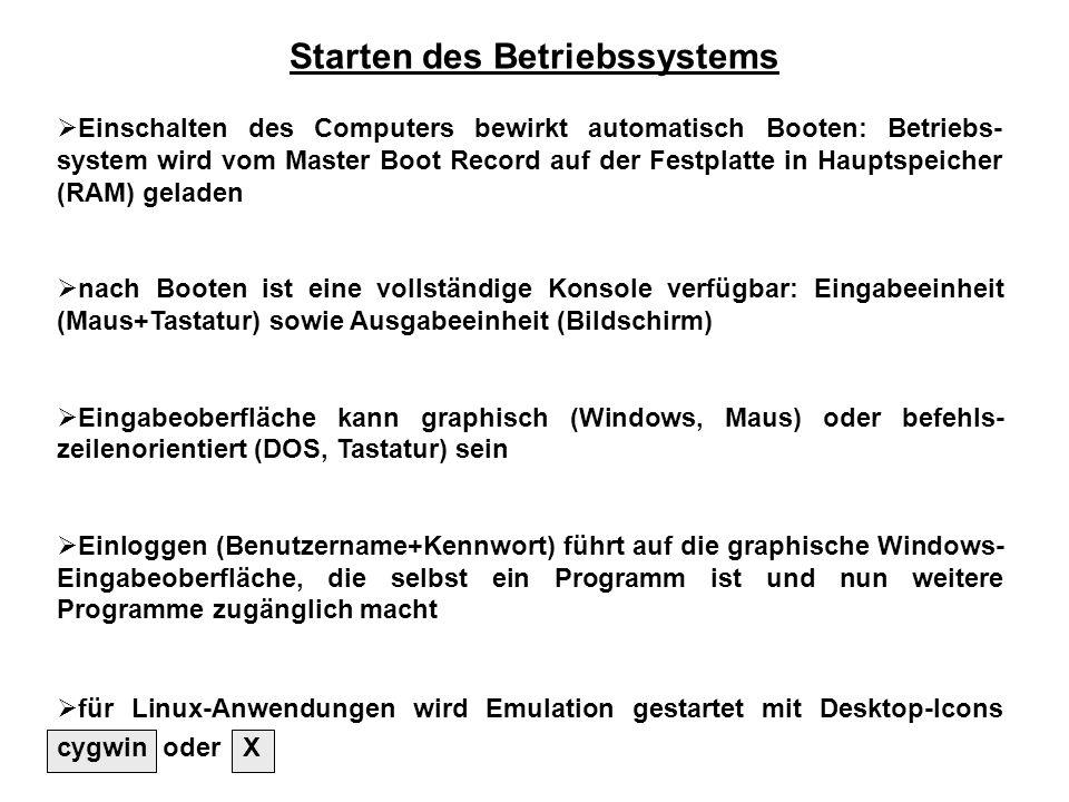 Starten des Betriebssystems